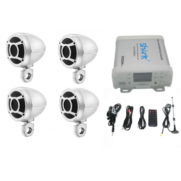 Shark motorcycle audio 7.1ch  3000W bluetooth audio with 4pcs 3inch speaker Chrome