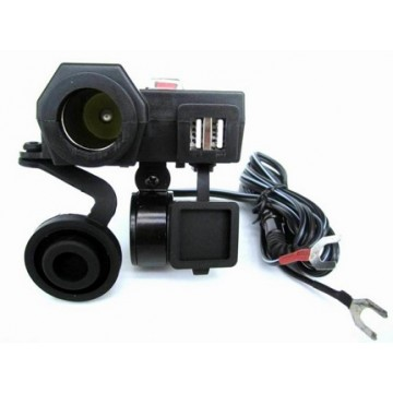 Dual USB 5V/12V 3.1A Waterproof Motorcycle Power Socket