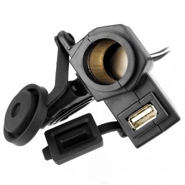 5V/12V Motorcycle Power Socket Single USB 2.1A Nylon Bracket Phone Charger Waterproof