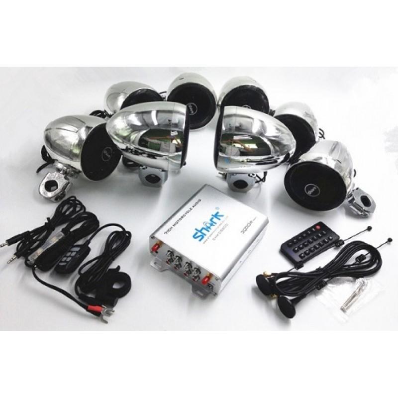 SHARK 3000W 7.1 Channels Motorcycle Audio Kits Chrome(8 Die-casting Bracket Speakers)