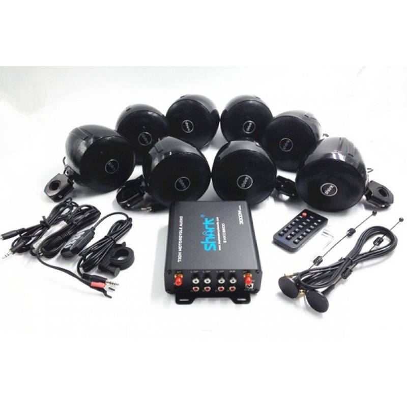 SHARK Special Offer 3000W 7.1 Channels Motorcycle Audio Kits(8 Die-casting Bracket Speakers)