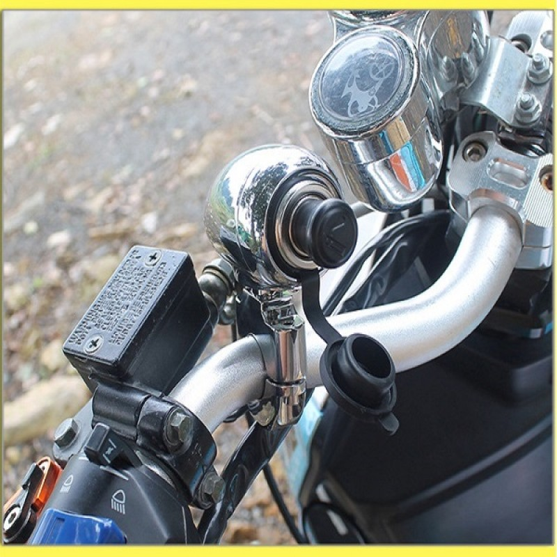 "Motorbike Chrome 1"" 7/8"" Handlebar Electrical Power Point with Cigarette Lighter for ATV Scooter Motorcycle"